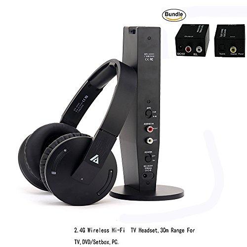 Wireless-TV-HeadphonesArtiste-Hi-Fi-TV-Earphone-Headset-On-Ear-Headset-For-TVHi-Fi-Sports-Gaming-Volume-Control-With-Digital-Fiber-Optical-Output-Converter
