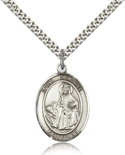Sterling Silver St. Dymphna Pendant 1 X 3/4-Inch Medal