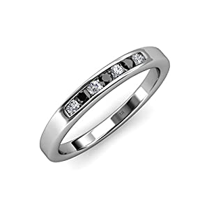 Black and White Diamond (SI2-I1, G-H) 7 Stone Wedding Band 0.36 ct tw in 14K White Gold.size 9