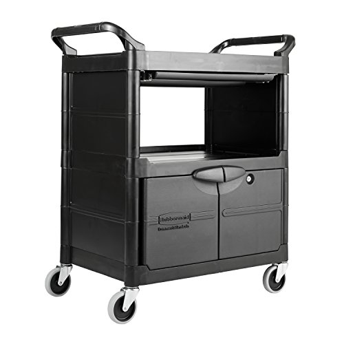 Rubbermaid Utility Cart With Locking Doors 2 Shelf 200