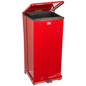 rubbermaid commercial steel 7 gallon the defenders step trash can with