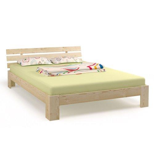 Doppelbett Holz 140x200 cm Massivholz Bett Bettgestell inkl. Lattenrost Ehebett (natur)
