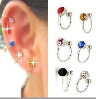 2Pcs Crystal Rhinestone Nose Ear Lip Ring Cuff Clip on Earring Unisex 6 Color