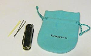 Tiffany and Co. Sterling Silver 18K Gold Victorinox Swiss Army Pocket Knife
