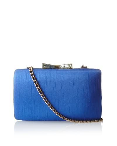 KAYU Women's Satin Shell Clasp Clutch, Blue Satin