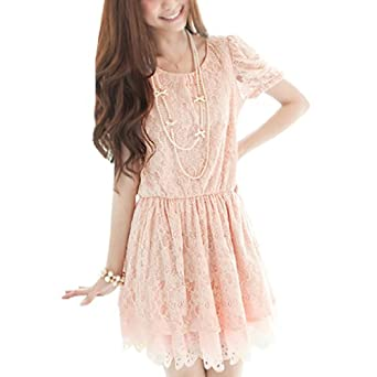 Allegra K Woman Scoop Neck Puff Sleeve Floral Lace Patchwork Dress Pink XS