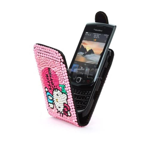 Ecell   PINK HELLO KITTY LEATHER BLING CASE FOR BLACKBERRY 9800