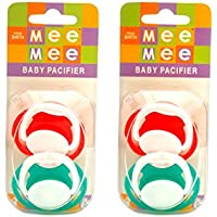 Mee Mee Baby Pacifier With Soft Nipple (Red/Green) Pack Of 2