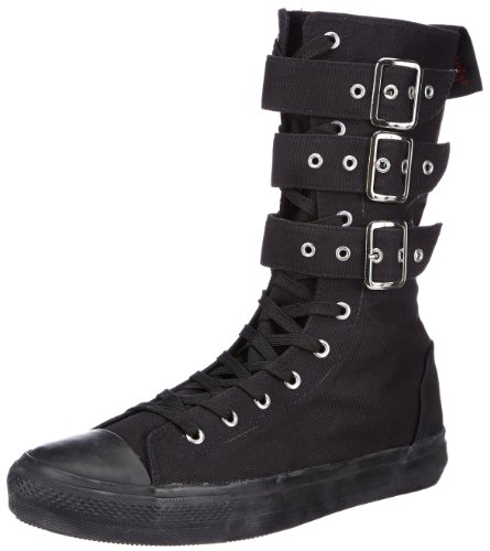 Demonia by Pleaser Deviant-202 Sneaker Boot,202-Black Canvas,Women's 14 M/Men's' 12 M