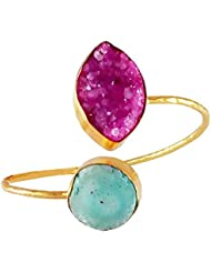 Rejewel 22K Gold Plated Free Size Alloy Kada Bangle Blue Purple Color For Women