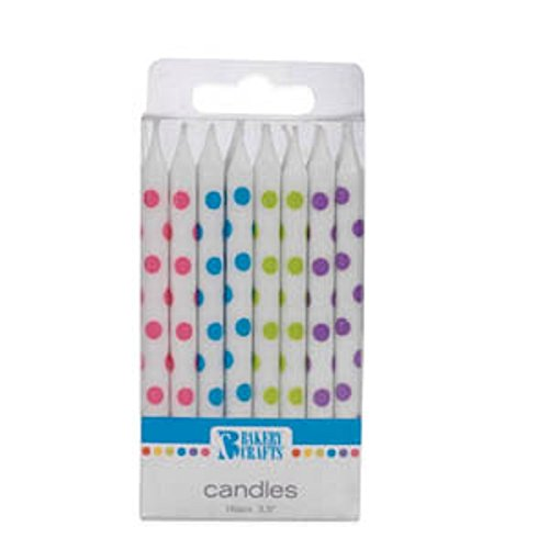 Oasis Supply White with Color Dots Birthday Candles, 3.5-Inch - 1