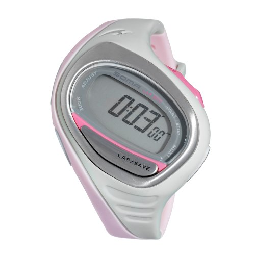 Soma Women's DWJ060003 RunOne 300 Grey and Light Pink Strap Digital Sports Watch
