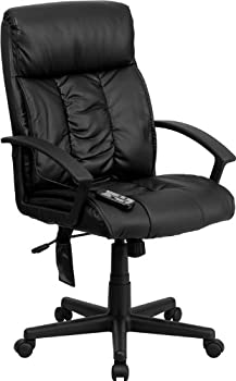 High-Back Massaging Leather Swivel Chair
