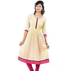 Saamarth Impex Pink Bordar Off White Color Anarkali Style Cotton Printex Kurities SI-2087
