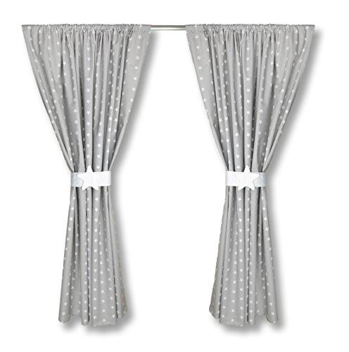 kinderzimmer vorh nge 155 x 155 cm set mit schlaufen baby gardinen vorhang sternchen grau. Black Bedroom Furniture Sets. Home Design Ideas