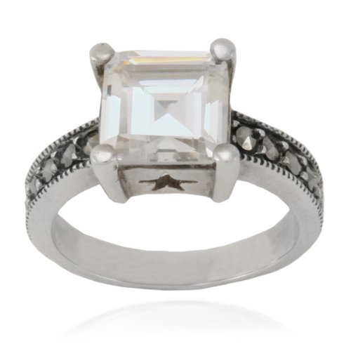 Sterling Silver Marcasite and Clear Glass Square Ring, Size 8