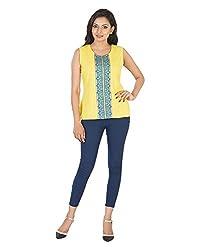 Parinita Women's Straight Sleeveless Top(150424_YELLOW-S, Yellow, Small)