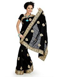 Designersareez Women Bhagalpuri Silk Embroidered Black Saree With Unstitched Blouse(756)