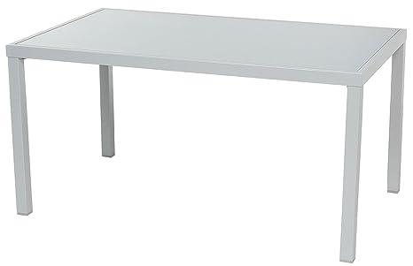 Table en aluminium avec plateau en verre trempé, silver mat - Dim : L 150 x P 90 x H 75 cm -PEGANE-