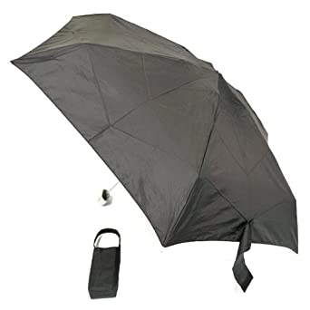 "Bravo-fit Totes Micro-slim Black Umbrella 6"" Length Opens to 38"" Dome"