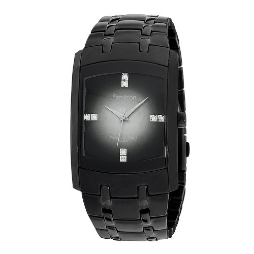Armitron Men's 204507DGTI Swarovski Crystal Accented Black Ion-Plated Stainless Steel Watch