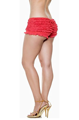 New Sexy Red Lace Ruffle Hot Pant Boy Short Panty S/M