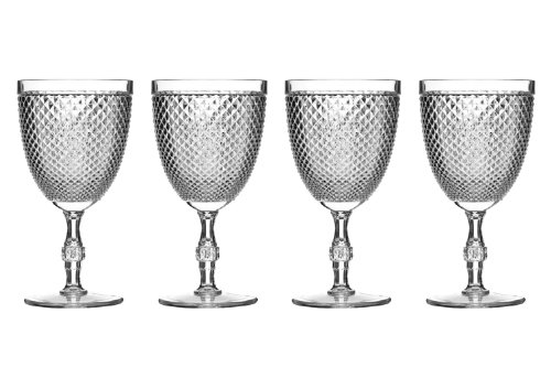 Premier Housewares 1206281 Ensemble de 4 Verres à Vin Diamants en Plastique Transparent