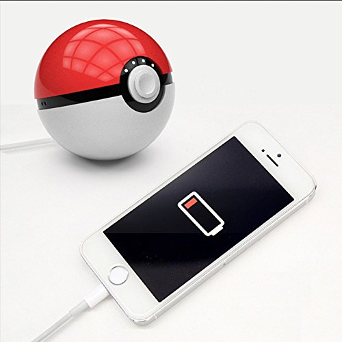 Pokeball Power Bank, 12000mAh Pokemon Go Power Bank Charger for iPhone 5 / 6 / 6 Plus / 6S Plus / Galaxy S7 / S7 Edge / Note 7 / Note 5 (Red&White)