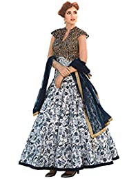Designer Latest White & Black Cotton Digital Print Semi Stitched Gown