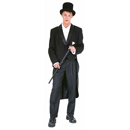 Herren Showfrack schwarz Gehrock Karneval Anzug Fasching Herrenkostüm Showanzug Show Frack