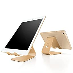 iPad Air Stand, Spinido® TI-APEX Series Magnesium-aluminium Alloy Tablet stands and holders Compatible With All iPad and Samsung Galaxy Tab (Gold)
