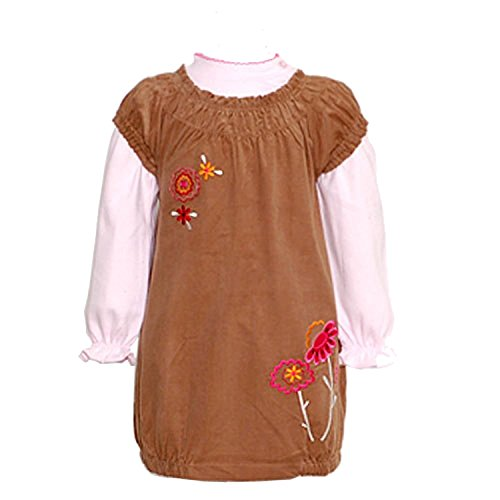Little Bitty Brown Bubble Dress Outfit Set Toddler Little Girls 2T-6X