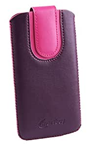 Emartbuy® Purple / Pink Plain Premium PU Leather Slide in Pouch Case Cover Sleeve Holder ( Size LM4 ) With Pull Tab Mechanism Suitable For Oukitel U7 Plus 4G