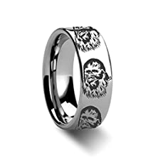 buy Chewbacca Star Wars Polished Tungsten Engraved Ring Jewelery - 8Mm