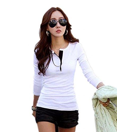 Donna T-shit primavera shirt Polo a maniche lunghe, girocollo, tinta unita, colore: rosso bianco Small