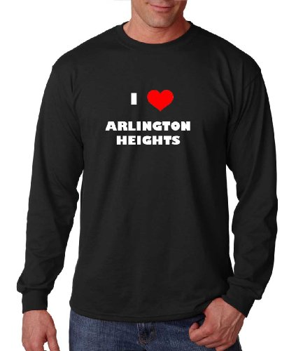 I Love Arlington Heights Il City Country Long Sleeve T-Shirt Tee Top Black 3XL (Arlington Heights City)