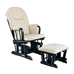 Madison Deluxe Glider Rocker and Ottoman Set- Ebony Finish with Beige Micro Fiber