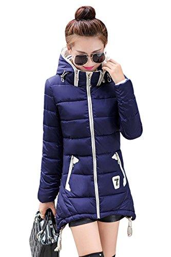 YMING donne giù giacca invernale alternativa Cappotto lungo blu L