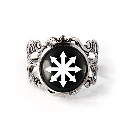 Antique Silver Chaos Symbol Filigree Punk Rock Ring