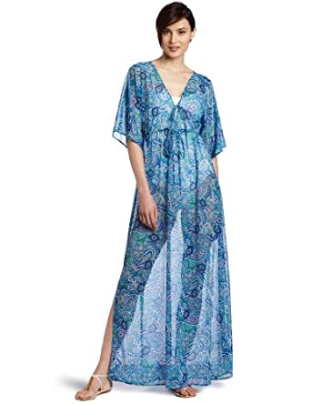 Toes on the Nose Women's Maxi Mesh Kimono, Hippie Blue, Medium