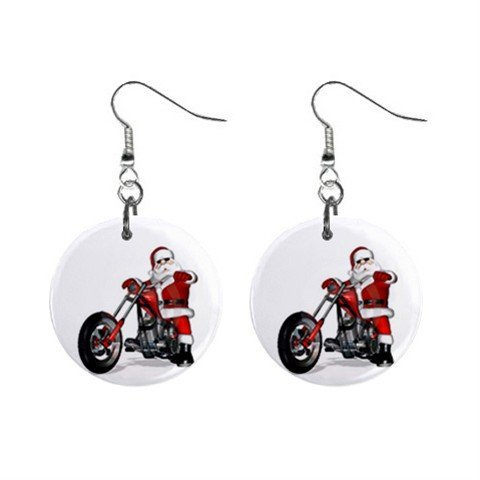 Santa on a Hog Motorcycle Christmas Dangle Button Earrings Jewelry 1 inch Round 13092967