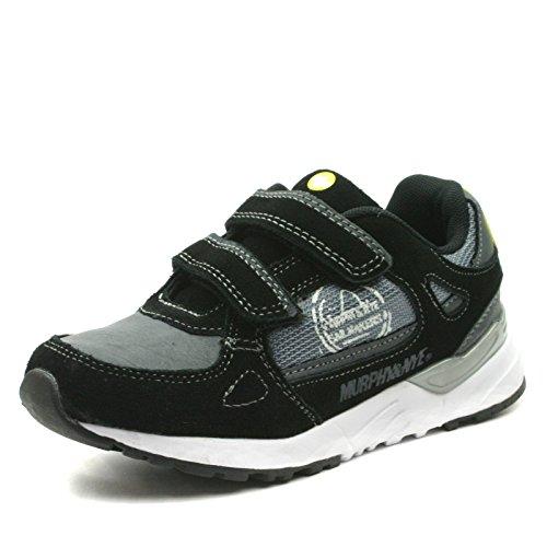 MN912 Murphy&Nye Boys Sporty Velcro Straps Shoe in Black White Sole Taglia 38