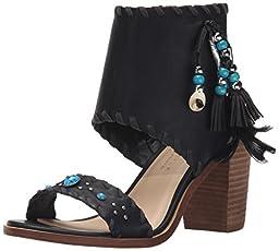 Very Volatile Women\'s Boho Heeled Sandal, Black, 9 B US
