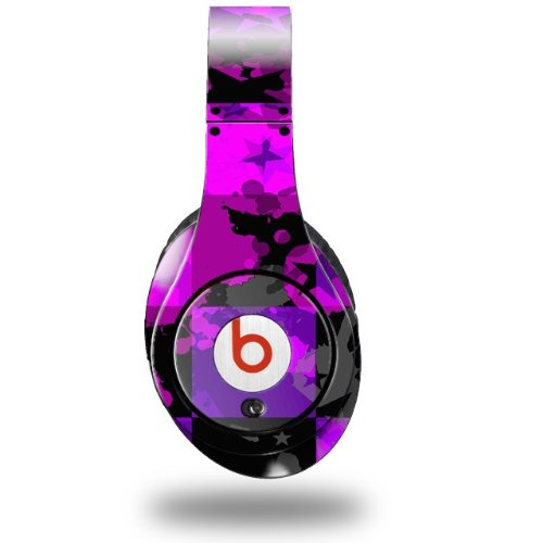 Purple Star Checkerboard Decal Style Skin (Fits Original Beats Studio Headphones - Headphones Not Included)