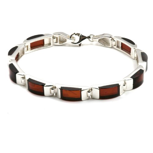 Baltic Cherry Amber and Sterling Silver Rectangular Mens Bracelet, 7.5