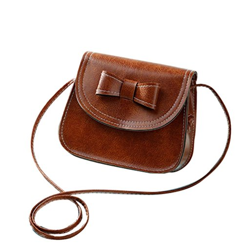 Borsa a tracolla Clode® Donne Bowknot Moda Borsetta di Pelle Singola Spalla Messenger Bag Phone (Colour : Marrone)