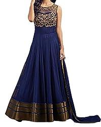 Starword Beautiful Heavy Copper Blue Semi stiched Dress Material High Qualitty