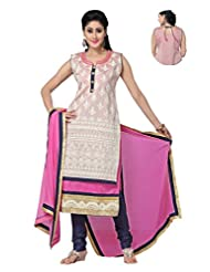 Ritu Creation Women's New Silk Stitched Straight Fit Long Double Flap Design With Embroided(White With Pink)