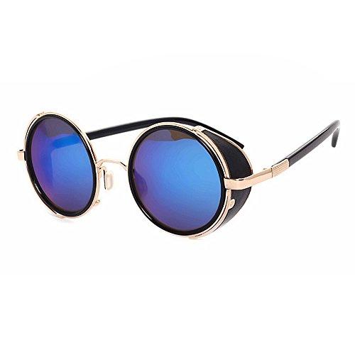 Fenck Luxury Metal Sunglasses Men Round Sunglass Steampunk Coating Glasses Vintage Retro Outdoor Of Male Su