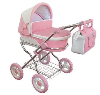 Dolls-Pram-Windsor-Piccadilly-Pink-White-Includes-Pram-Bag